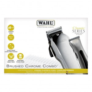 Wash Brushed Chrome Combo Professionele Tondeuse en Trimmer